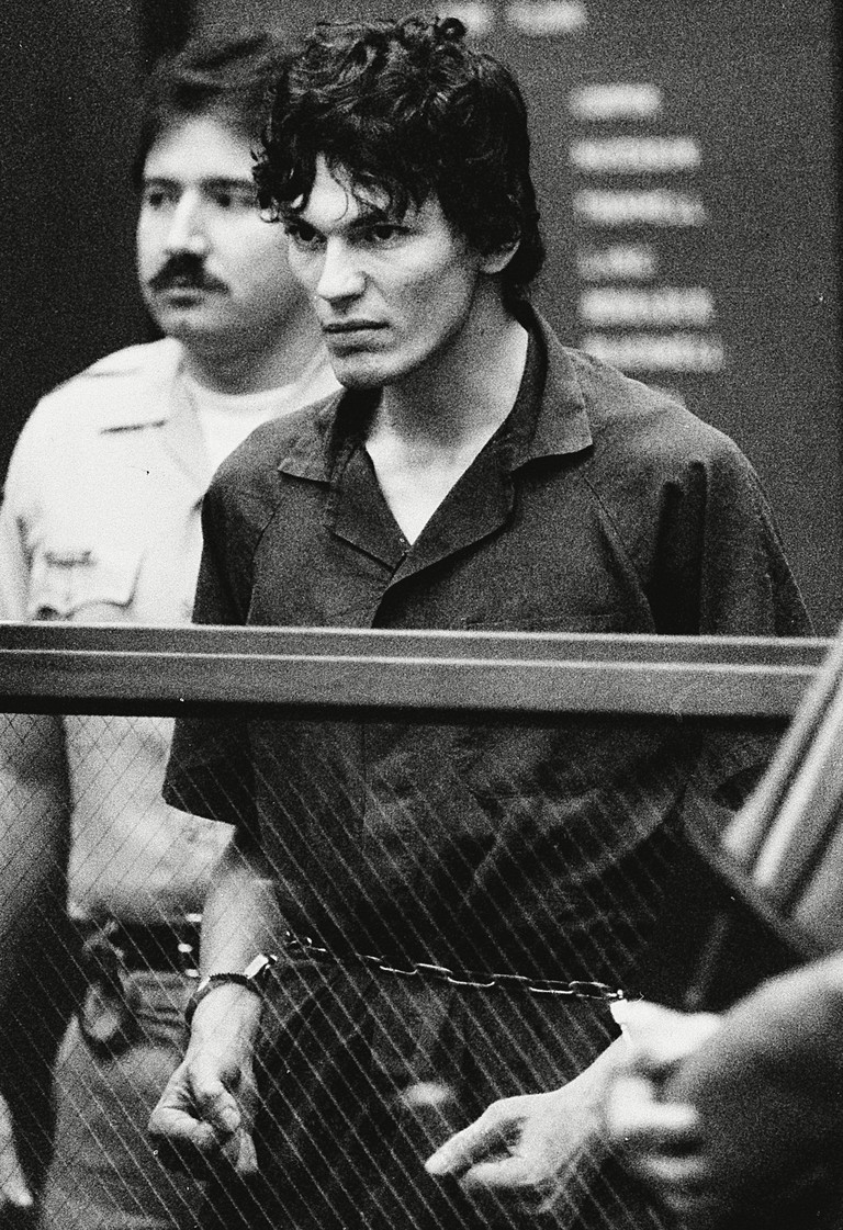 "Ramirez Richard Ramirez, accused of 14 counts of murder in the ""Night Stalker"" serial killings, clenches his fists and pulls on his restraints in a court appearance in Los Angeles, CA, USA."