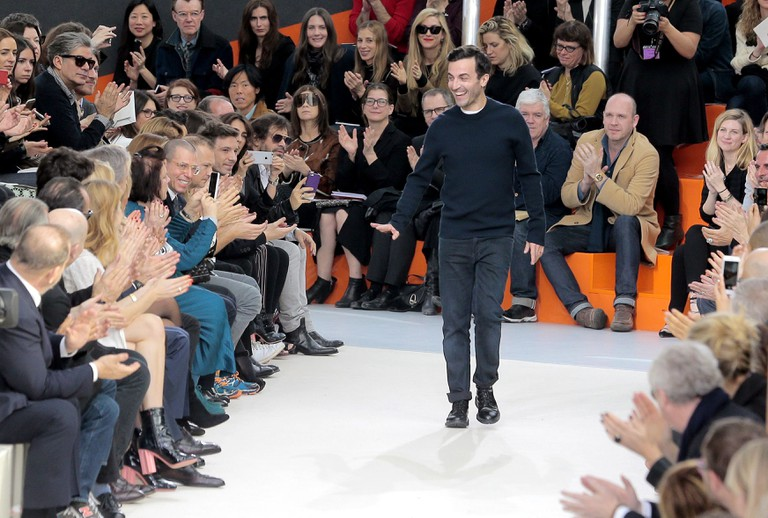 Fashion designer Nicolas Ghesquiere at the end of Louis Vuitton's Fall-Winter collection during the Paris Fashion Week.
