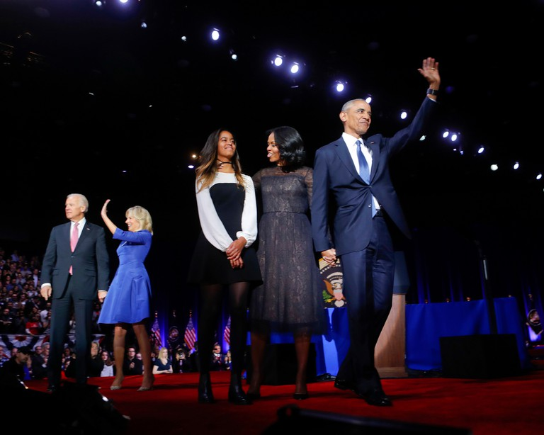 Barack Obama, Michelle Obama, Malia Obama, Joe Biden, Jill Biden President Barack Obama on stage with first lady Michelle Obama, daughter Malia after President Obama's 2017 farewell address at McCormick Place in Chicago, USA.