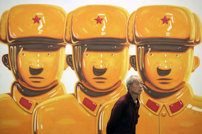 Painting Entitled 'Hero' Which Depicts Soldiers of China's People's Liberation Army (pla) in the Likeness of Porcelain Figures by Chinese Artist Shen Jingdong at the 798 Space in the Dashanzi Art District Beijing