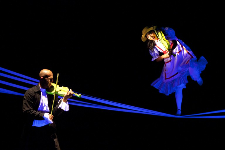 Artists Perform the Play 'Aspects of Alicia' of the National Black Light Theatre of Prague Czech Republic