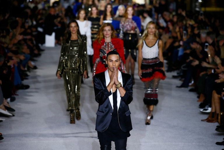Olivier Rousteing at the Balmain Spring/Summer 2018 ready-to-wear fashion collection presented in Paris.