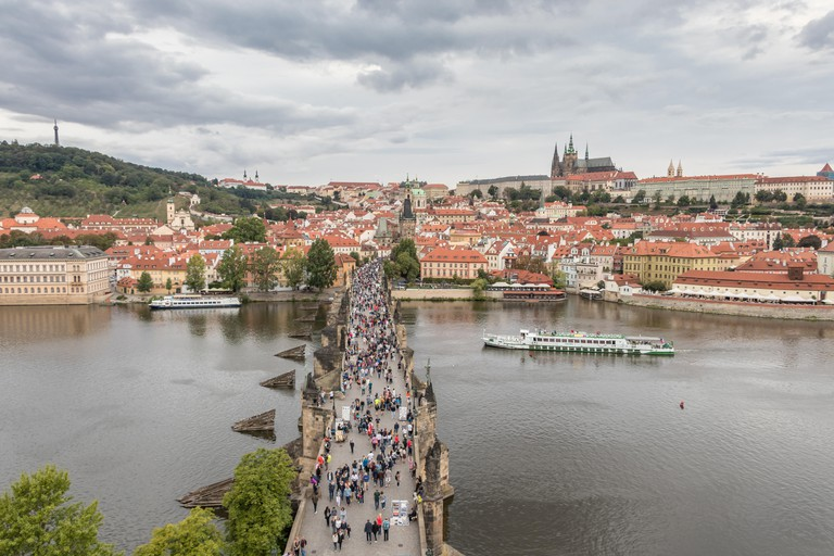 St. Vitus Cathedral, Charles Bridge and Vltava river in Prague, Czech Republic