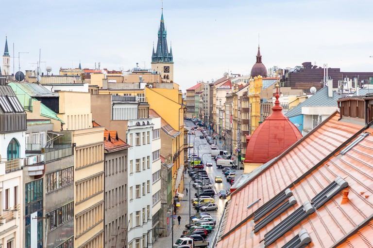Prague, Czech republic - 26.01.2019: View of street of Prague from Palac Lucerna, Czech republic