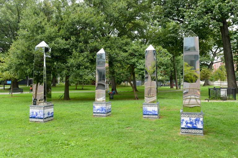 Rose DeSiano's Absent Monuments exhibition in Rufus King Park in Jamaica, Queens, New York, USA.