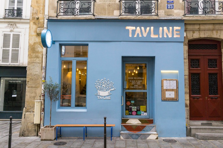Exterior of Tavline, an Israeli restaurant on Rue du Roi de Sicile in Marais district of Paris, France.