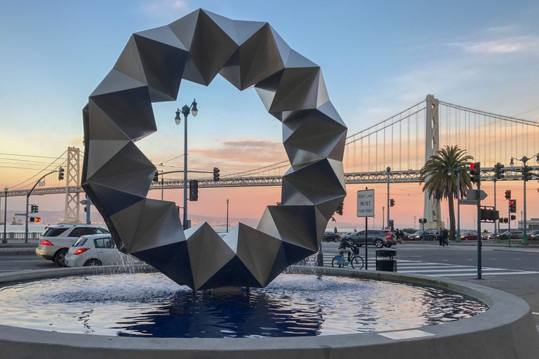 Ruth Asawa's Aurora Fountain, installed at Bayside Plaza, San Francisco, California