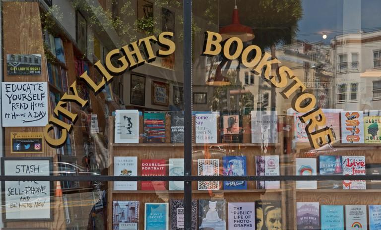 City Lights Bookstore showcase at Columbus Ave, San Francisco, California.