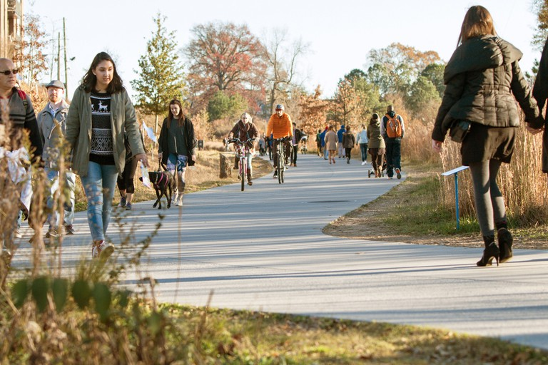 People walk, run and bike along the Atlanta Beltline