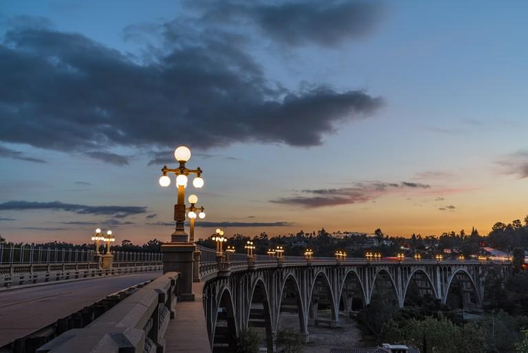 The Colorado Street Bridge is a pretty sight at night