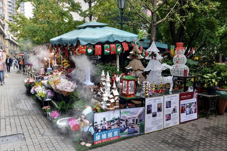 Christmas market stall, Golden Street, SHanghai