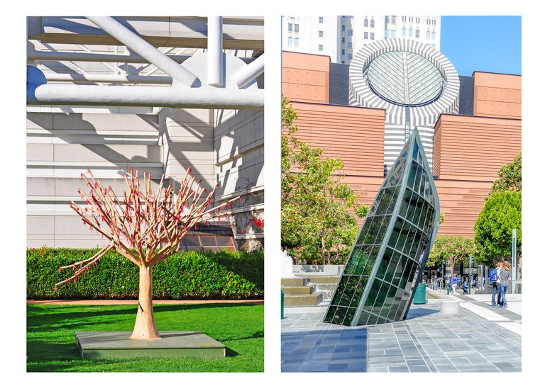 Left: Tree sculpture in Yerba Buena Gardens, San Francisco, California. Right: Yerba Buena Gardens, San Francisco, California.