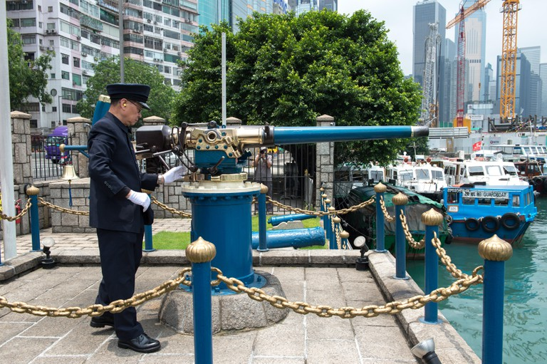 The Noonday Gun is a former naval artillery gun positioned at a gated site near the Causeway Bay Typhoon Shelter