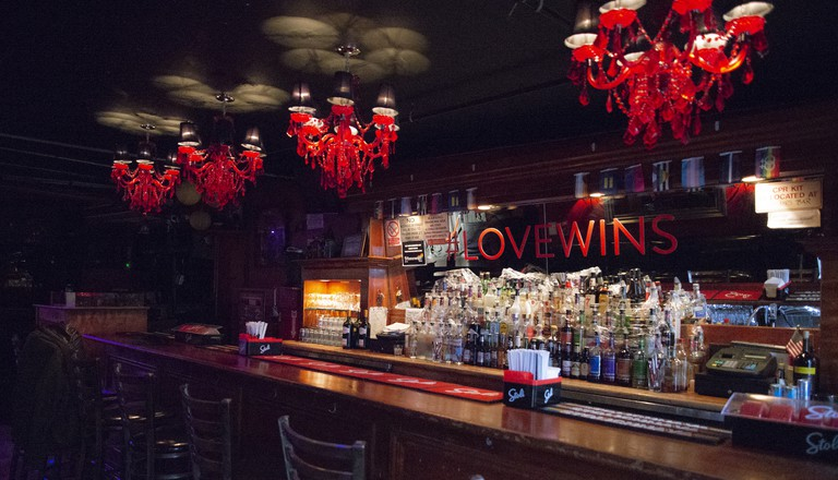 Interior at the historic Stonewall Inn in Greenwich Village, New York, USA.