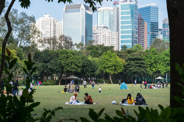 Grass field at Victoria Park in Hong Kong