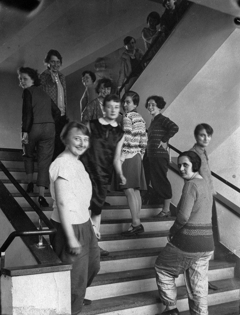 Weavers on the Bauhaus staircase, 1927