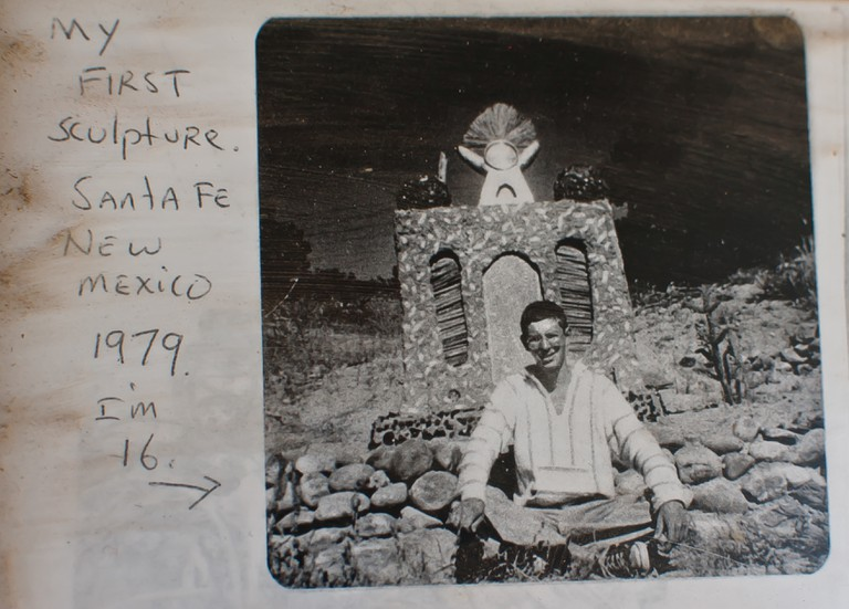 Vince Hannemann founder of Cathedral of Junk photographed in 1979, Santa Fe, New Mexico.