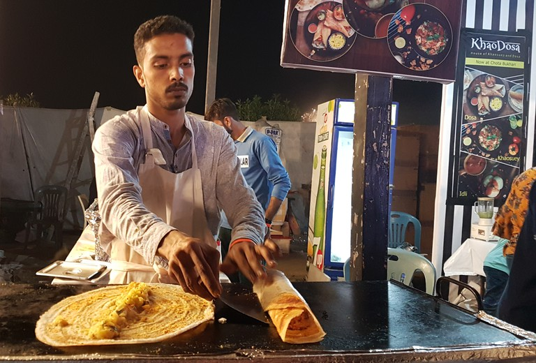 A vendor at Burns Road Food Market. Still from Beyond Hollywood series. 2019, Karachi, Pakistan.