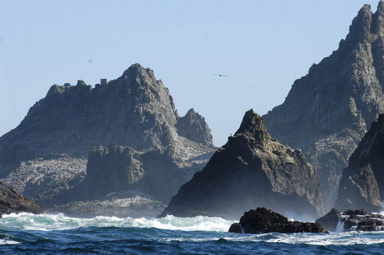 The Arch Farallon Islands Great white shark diving destination, San Francisco Bay.
