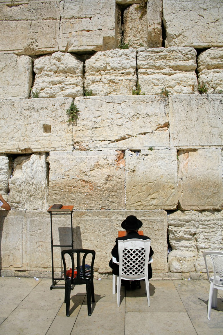 Hasidic jews at the wailing western wall jerusalem israel