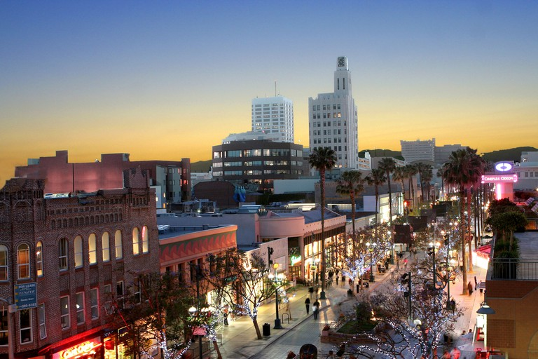3rd Street Promenade in Santa Monica California at sunset