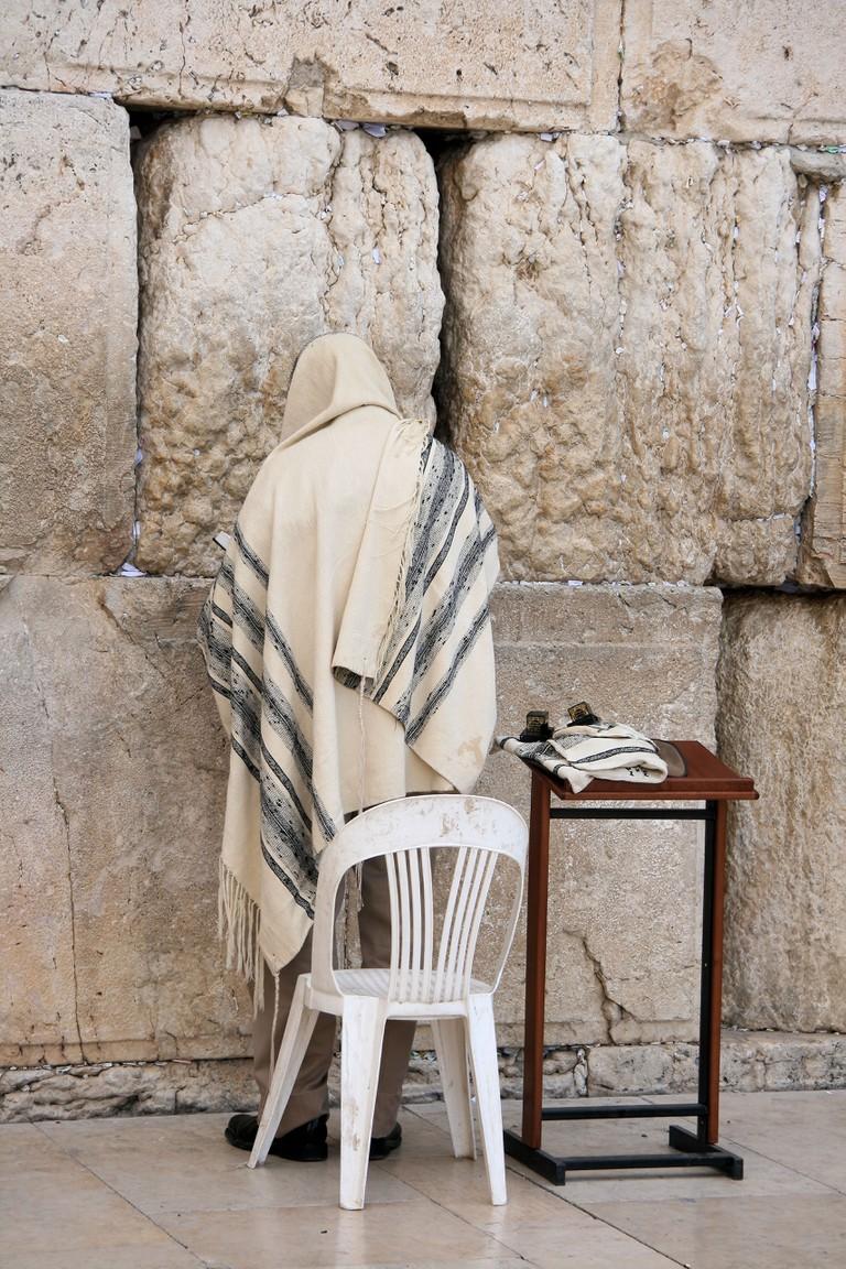 Man Praying At The Wailing Wall. Image shot 2008. Exact date unknown.