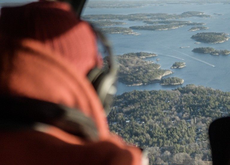 Sandhamn harbour, part of the wider Stockholm archipelago as seen from the helicopter ride. Still from Beyond Hollywood series. 2019, Sweden.