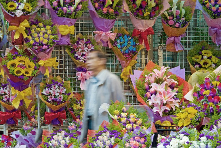 China, Hong Kong, Kowloon. Flower Market