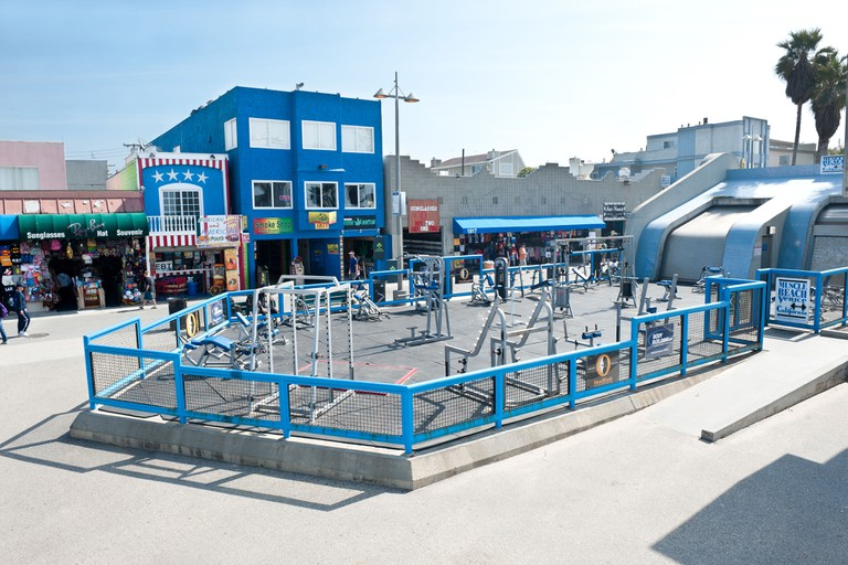 World famous Muscle Beach gym, an open air weightlifting health club, where many famous bodybuilders started their careers.