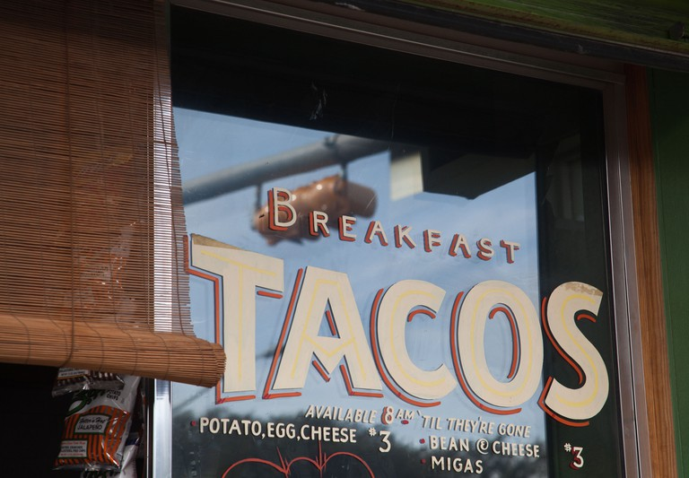 Breakfast Tacos sign in Austin, Texas.