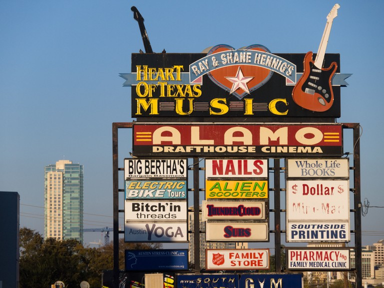 The Heart of Texas Music signs in Austin, Texas.