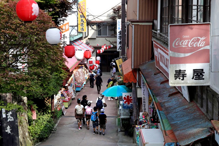 A shopping street in Mitake-san mountain Tokyo Japan