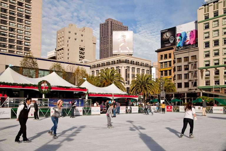 Ice skating in San Francisco.