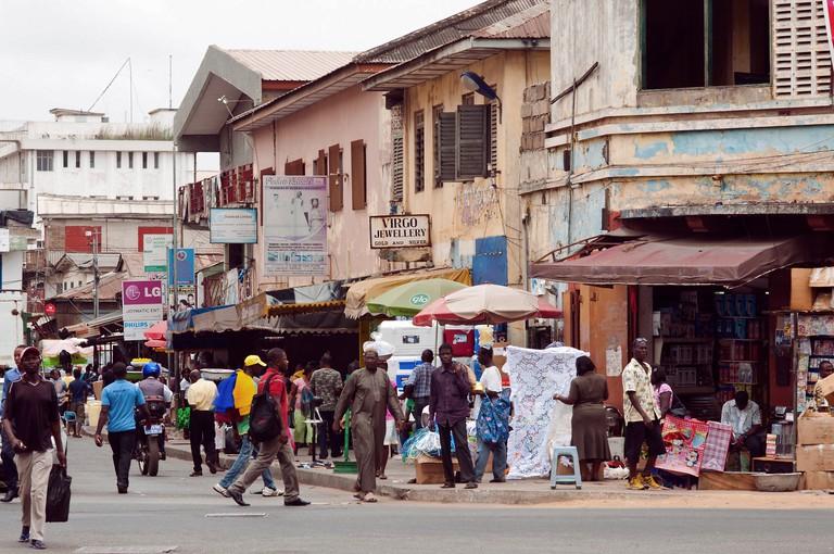 Street scene, downtown Accra, Ghana.
