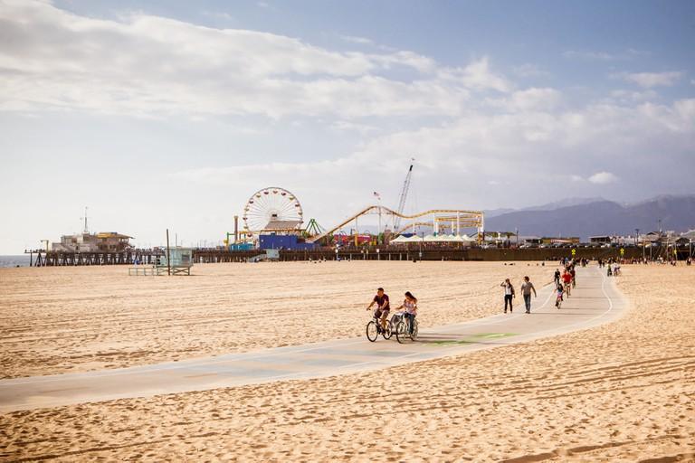 Santa Monica Beach on a warm sunny day in Los Angeles, California, USA