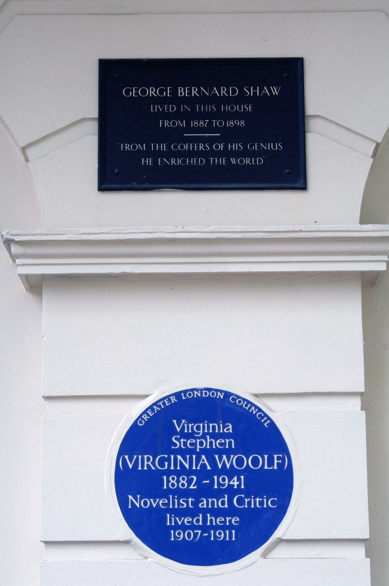 Blue plaque to Virginia Stephen (Virginia Woolf) and Plaque to George Bernard Shaw, London.