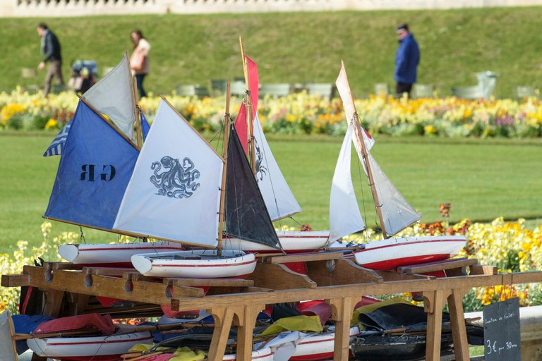 Toy boats for rent in the Jardin du Luxembourg in Paris France. Image shot 04/2014. Exact date unknown.