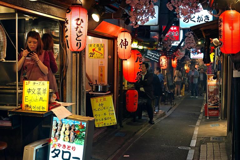 Omoide yokocho district, Tokyo, Japan.