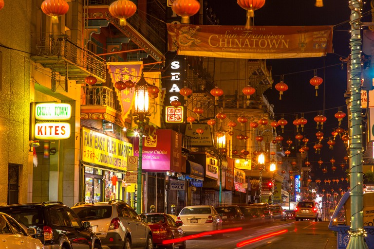 Chinatown at night on Grant Street in San Francisco, California, USA.