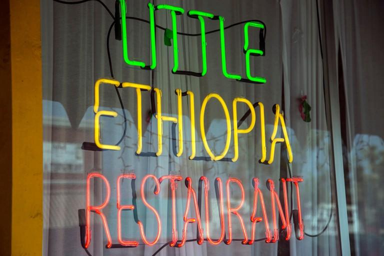 Little Ethiopia Restaurant Sign, Fairfax Street (below Wilshire), Los Angeles, California, USA
