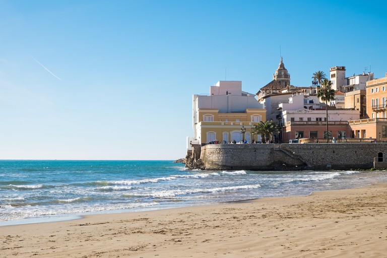The beach of Sitges in Catalonia, Spain.