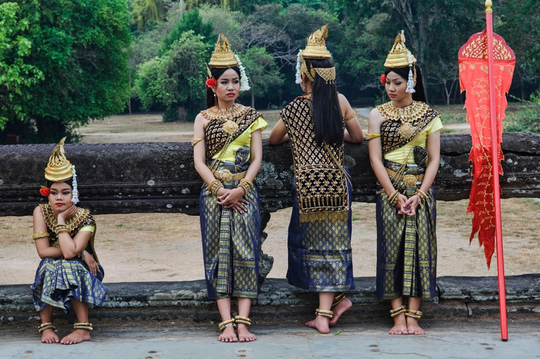 Khmer traditional dancers in Angkor Wat, Siem Reap, Cambodia