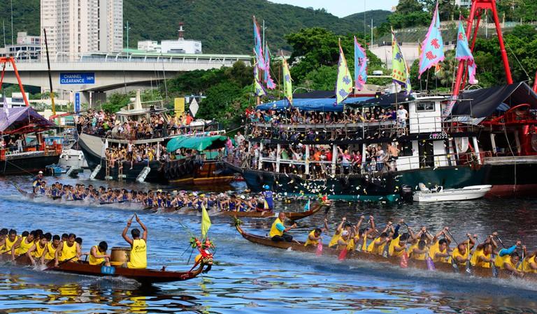 The Dragon Boat Festival races held in Hong Kong, Hong Kong, China.