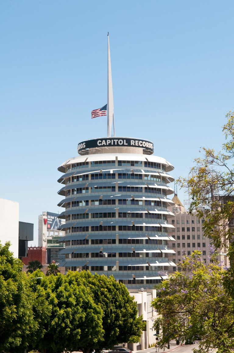 The Capitol Records Building, in Hollywood, Los Angeles.