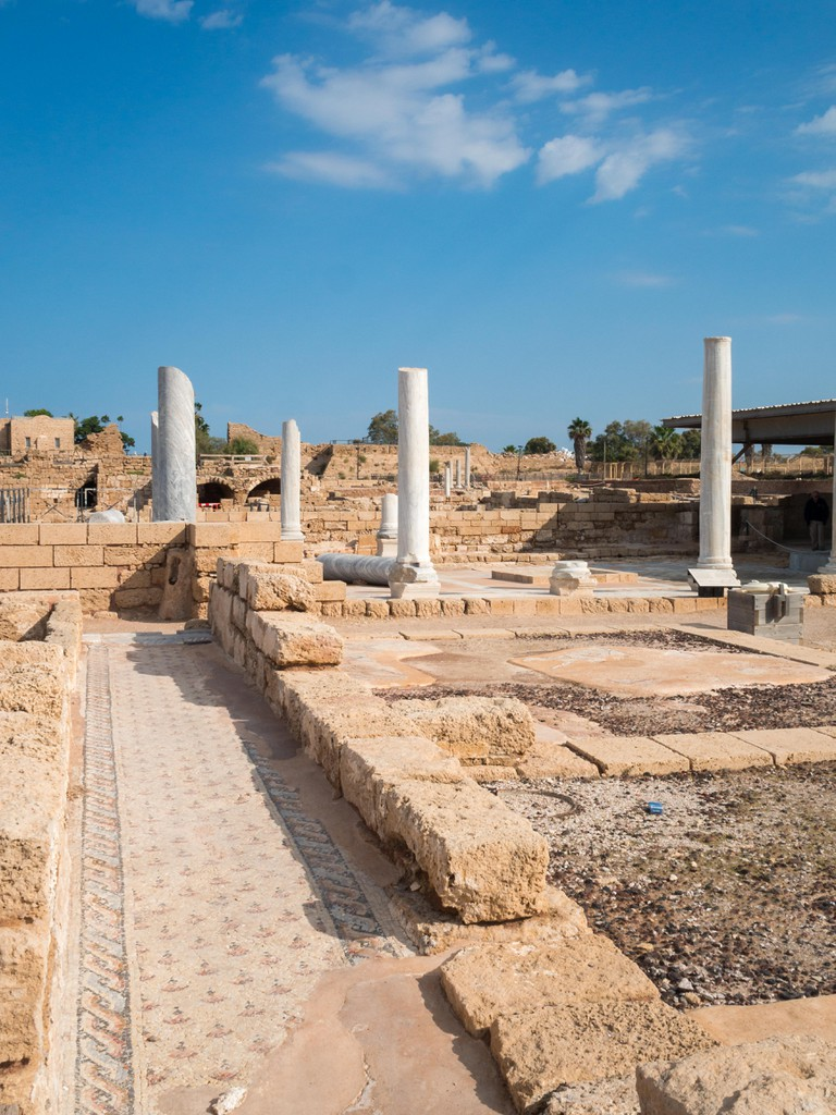 Caesarea bathhouse ruins and mosaic