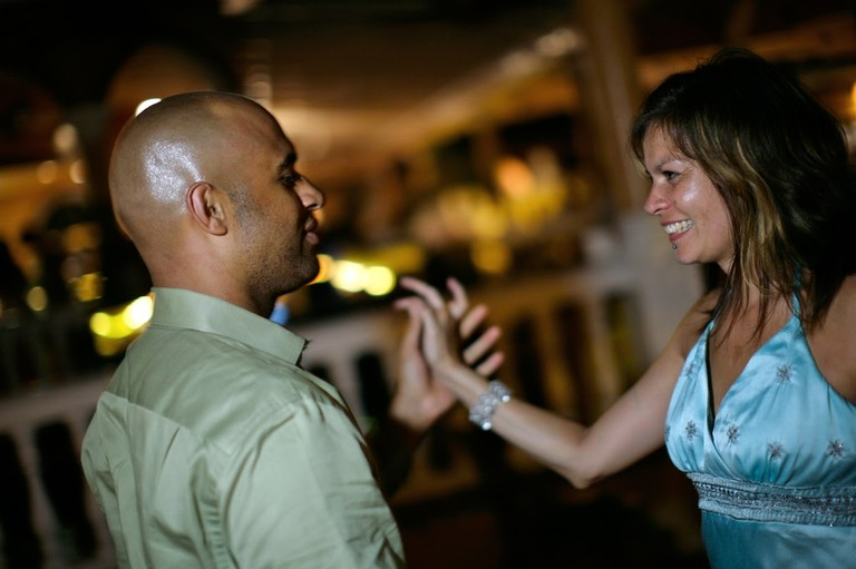 Yasir Salem with his late wife Gweneviere Mann dancing at a wedding they have attended.