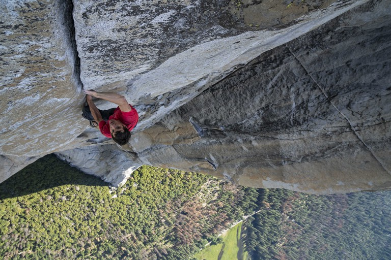 Alex Honnold making the first free solo ascent of El Capitan's Freerider.