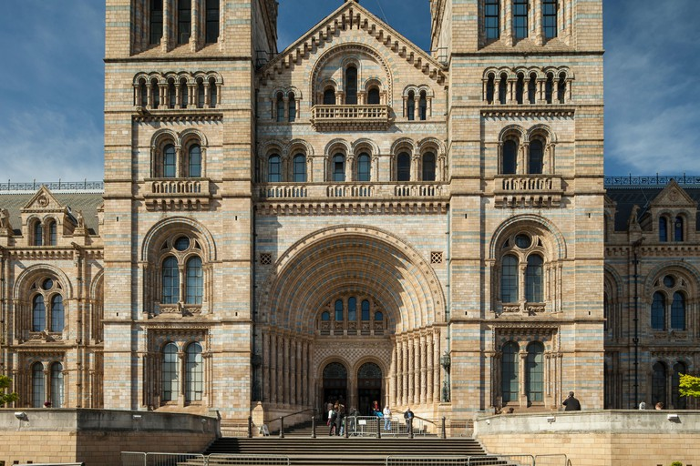 Entrance to Natural History museum in London, England.