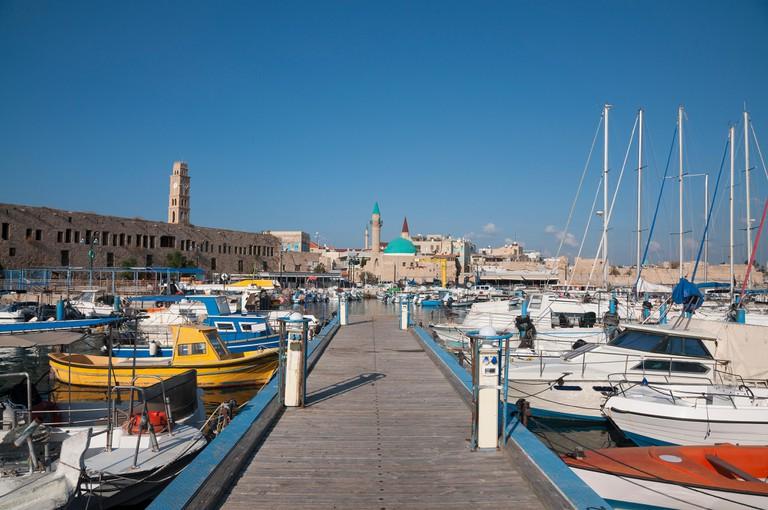 Port of Acre and the old city, Israel.