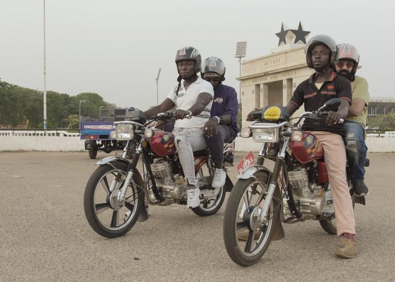 Okada bikes in Ghana. Still from Beyond Hollywood series, 2019, Ghana.